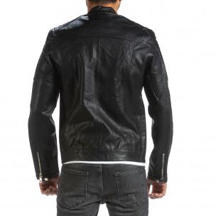 Рокерско черно кожено яке с капитонирани детайли Wanwest 2