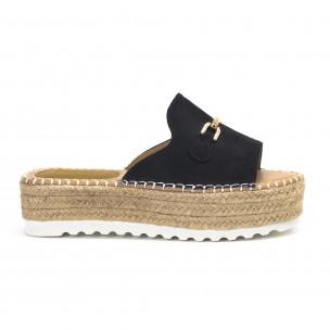 Дамски черни чехли със златиста катарама