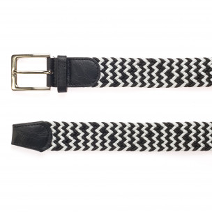 Мъжки плетен колан в черно и бяло