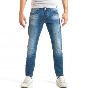 Мъжки дънки изчистен модел с леко избелял ефект