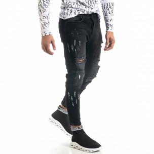 Мъжки черни дънки Destroyed Paint
