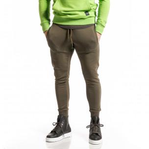 Мъжко зелено долнище от стегнато трико  2