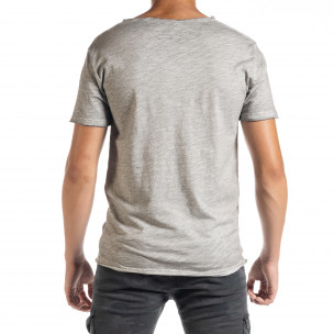 Мъжка тениска от памук и лен в сиво 2