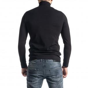 Памучно черно поло от стегнато трико 2