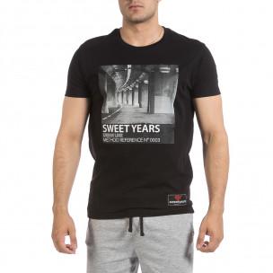 Мъжка черна тениска Sweet Years