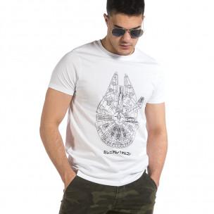 Мъжка бяла тениска с принт