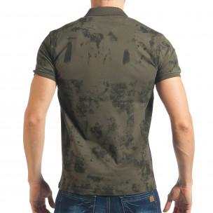 Мъжка зелена тениска с черен ефект  2