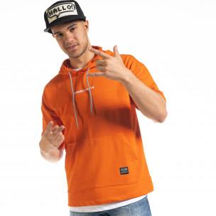 Мъжки суичър с къси ръкави в оранжево