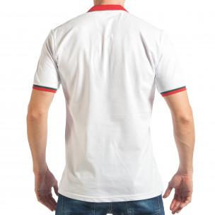 Мъжка бяла тениска с двуцветна яка   2