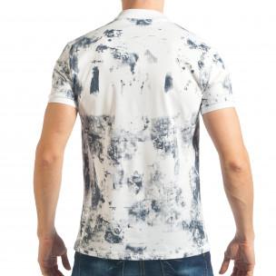Мъжка бяла тениска със син ефект  2