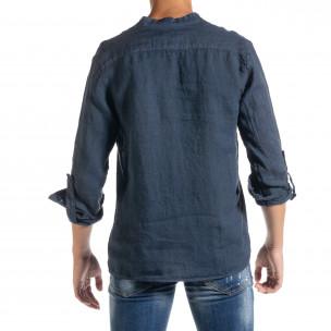 Ленена мъжка риза в синьо рустик стил  2