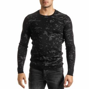 Мъжки сиво-черен пуловер пикселирана шарка