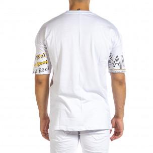 Oversize мъжка бяла тениска с череп  2