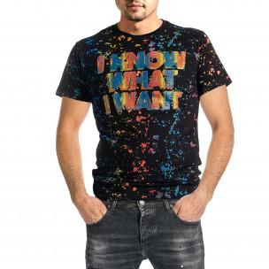 Мъжка черна тениска с принт и кристали