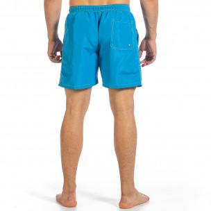 Мъжки бански цвят тюркоаз с контраст 2