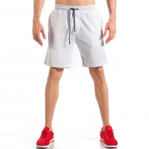 Мъжки бели шорти с апликация на крачола  2
