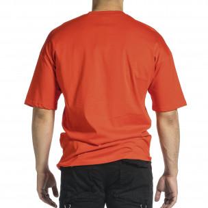 Мъжка червена тениска Dinosaur Oversize  2
