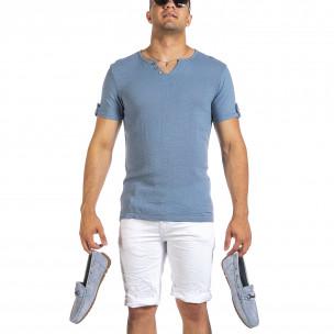 Текстурирана синя тениска с копчета