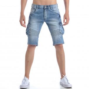 Мъжки къси дънки с джобове на крачолите