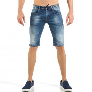 Мъжки къси сини дънки с кадифен ефект