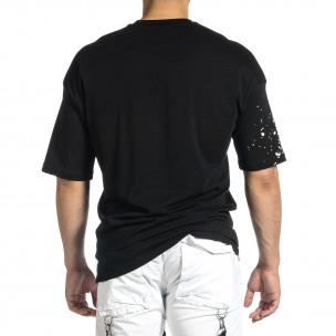 Мъжка черна тениска с принт Oversize  2