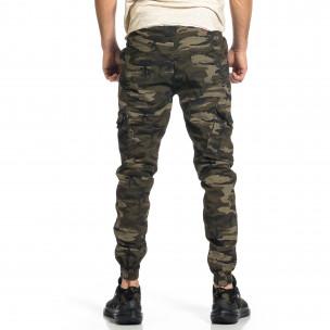 Мъжки карго панталон бежово-зелен камуфлаж  2