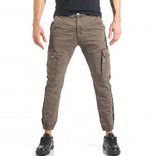 Мъжки зелен карго панталон с ленти отстрани
