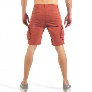 Мъжки къси карго панталони в червено  2