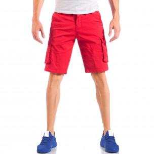 Мъжки червени къси панталони с карго джобове  2
