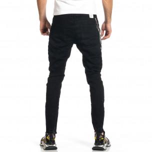 Мъжки черни дънки с прокъсвания и аксесоар  2