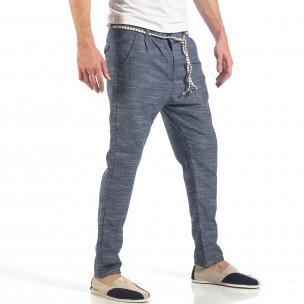 Мъжки сини леки панталони с колан шнур  2