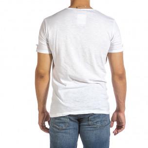 Текстурирана бяла тениска с копчета 2