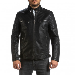 Мъжко черно кожено яке в рокерски стил Itenly 2