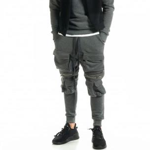 Мъжки трикотажен карго панталон в сиво