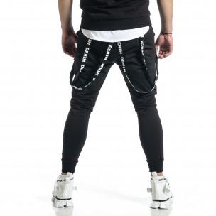 Hip Hop черно долнище с декорирани ленти  2