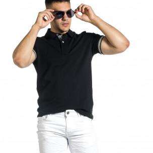 Мъжка черна тениска с яка и раирано бие