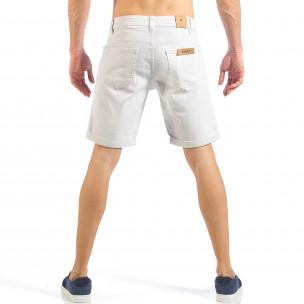 Мъжки бели къси дънки с маншети  2