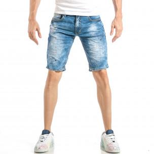 Slim fit мъжки къси дънки в синьо с цветни пръски