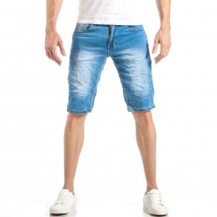 Мъжки летни къси дънки в светло синьо