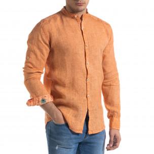 Мъжка оранжева риза от лен с яка столче