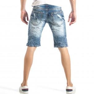 Изтъркани мъжки къси дънки в синьо с колан  2