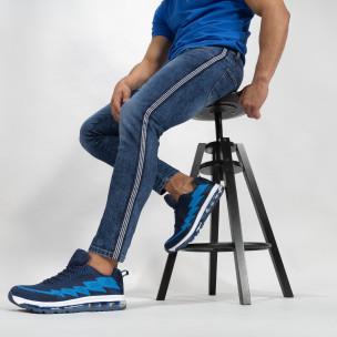 Cropped мъжки сини дънки с кантове Slim fit