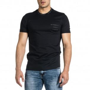 Мъжка черна тениска с декорирано бие 2