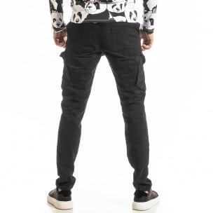 Мъжки черен Cargo панталон с прави крачоли  2