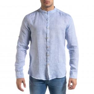 Мъжка синя риза от лен с яка столче  2