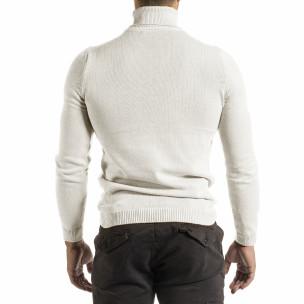Мъжко бяло поло от памучна смес  2