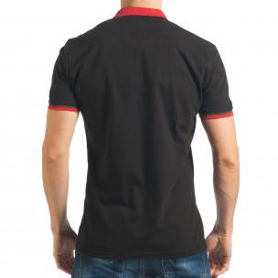 Мъжка черна тениска с двуцветна яка   2