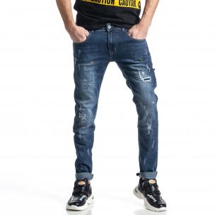 Мъжки сини дънки Destroyed Paint Slim fit