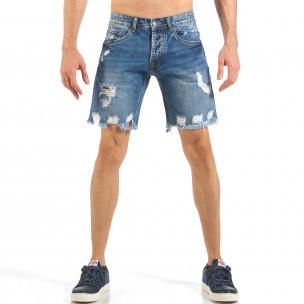 Мъжки непоръбени къси дънки в синьо