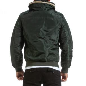 Мъжко зелено яке с прибираща се качулка  2